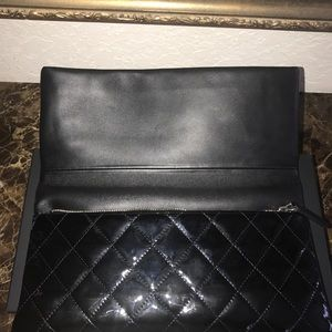 CHANEL Bags - Chanel Black Patent Leather Clutch